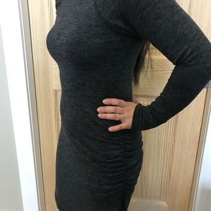 Long Sleeved Ruched Sheath Dress Charcoal Small
